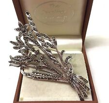 Vintage Jewellery Lovely 1950's  Large  Flower Spray  And Marcasite Brooch