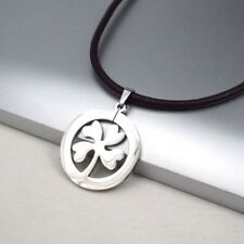 Silver Stainless Steel Celtic Four Leaf Clover Pendant Black Leather Necklace
