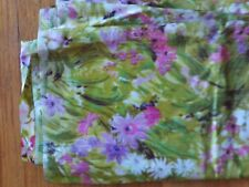 """Thompson of California vintage floral fabric green, pink, lavender, 4 yds, 45"""" w"""