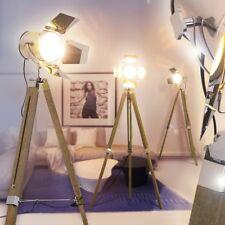 Lampada Terra Studio Soggiorno Cromo Legno Treppiede Piantana Luce Industriale