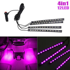 4X 12LED Pink Cigarette Lighter Car Interior Floor Atmosphere Light Strip Lamp