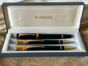 PARKER DUOFOLD 3 PIECE SET ROLLERBALL PEN, BP, PENCIL NEW IN BOX