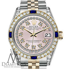 Rolex 31mm Datejust 2 Tone Pink String Vintage Dial with Sapphire & Diamond
