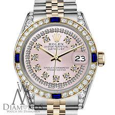Women's Rolex 31mm Datejust 2Tone Pink String Vintage Dial Sapphire & Diamonds
