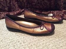 NEW WOMENS 10 BELLINI Copper & brn Real Snake skin Leather shoes PRETTY!