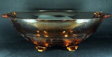 Large Footed Peach Glass Bowl Grape Berry Pattern 27cm Vintage