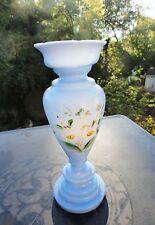 Antique Bristol Blue Milk Glass Hand Painted Vase Victorian Beauty!