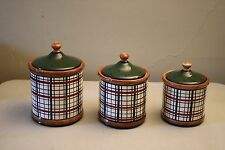 Young's Heartfelt Kitchen Creations 3 Piece Plaid Country Kitchen Canister Set