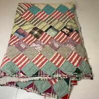 vintage quilt hand sewing blanket bedding multi colored striped square print