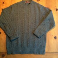 MEN'S WOOL CREW NECK WITH CABLE KNIT SWEATER XL TEAL COLOR