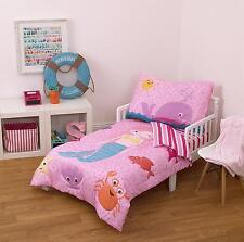 Toddler Bedding Set Mermaid Whale Fish Nautical Pink 4 Piece Girls Kids Crib New