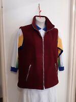 Ladies BOWLS Apparel Size 14 Fleecy Zip up Jacket Maroon Zip up Pockets VGC
