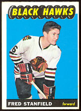 1965 66 TOPPS HOCKEY #63 FRED STANFIELD RC EX+ CHICAGO BLACK HAWKS ROOKIE CARD