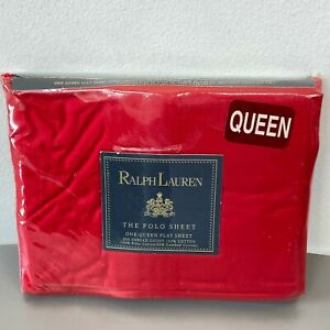 Ralph Lauren Polo Queen Flat Sheet Red Pima NEW SEALED 250TC Vintage USA Made K3