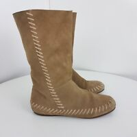 Faith Genuine Suede Shoes Flat Slip On Boots Beige Size UK 5