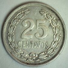 1944 El Salvador Silver 25 Centavos Coin Extra Fine Circulated Francisco Morazan