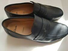 CLARKS MENS ASTUTE DROP BLACK LEATHER  SLIP ON SHOES SIZE UK 10 H EXTRA WIDE NEW