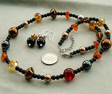 """Set Amber Crystals Glass Pearl Beads Necklace 20"""" Pierced Earrings FREE SHIP"""
