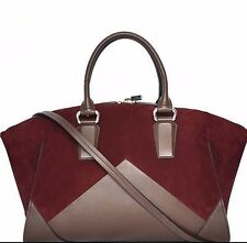 Narciso Rodriguez Claire Suede Leather Colorblock Convertible Satchel Bag $2,495