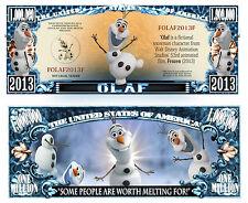 LA REINE des NEIGES OLAF - BILLET 1 MILLION DOLLAR US! Anna DISNEY Bonhomme de 2