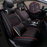 Front+Rear PU Leather Red 5-Seats SUV Full Car Seat Cover Cushion Set Universal