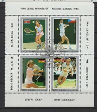 1986 Corée feuillet 4 timbres oblitérés tennis Roland-Garros /B6Bco