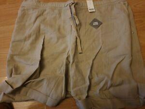 Evans Ladies Khaki Linen Blend Shorts size 24 rrp £20 Brand New