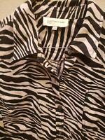 Jones New York Sport L Large Button Up 100% Linen Long Sleeve Shirt Zebra Print