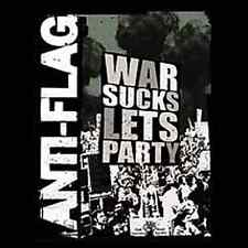 ANTI-FLAG 1.5-inch Square BADGE Button War Sucks Lets Party NEW OFFICIAL MERCH