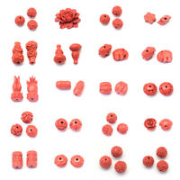 100pcs Carved Cinnabar Beads Charms Loose Spacer Beading Pick Shape FireBrick