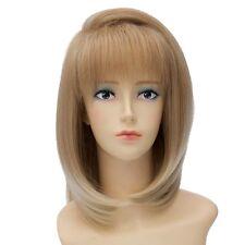 Light Brown Blonde Women Short Straight Bob Style Heat Resistant Hair Wig