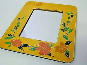 """Crowning Touch Collections Small 6"""" Asian Floral Accent Wall Mirror Vintage"""