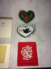 Vintage Current Painted Metal Christmas Tree Ornaments Hearts & Partridge Cutout