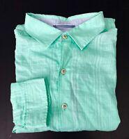 Caribbean Nwt Green Linen Blend Tonal Check Long Sleeve Collar Shirt Big & Tall