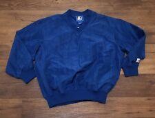 Vintage Satin Starter Pullover Jacket Navy Mens Size Large