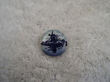Delph Delft Blue Windmill Porcelain Pin  (C79)