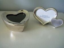 Two Silver Heart Picture Frames, One is Trinket Box with Red Velvet