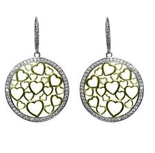 PAVE CZ OPEN CIRCLE GOLD FLOATING  HEARTS 2 TONE DANGLE EARRINGS -BRIDAL