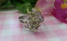 Beautiful Real Platinum Sterling Silver Ring Olive Flower CZ Size 7 &8 NEW B98