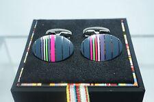 New Paul Smith Men's Oval Cufflinks Multi Color Striped Classic
