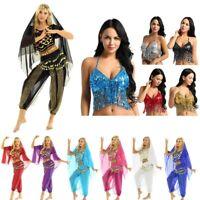 Indian Belly Dance Costume Sequins Crop Top Coins Harem Pants Scarf Dancewear