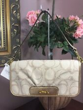 Coach Linen Signature Wristlet Bag Large Flap Light Khaki Gold F47477 B21