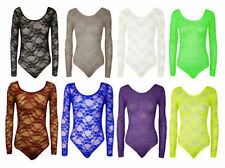 Womens Long Sleeve Floral Lace Bodysuit Ladies Flower Lace Top Leotard 8-26