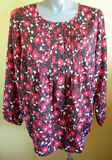 Ladies Womens Long Sleeve Loose Blouse Shirt Top Red Floral Print Millers Size18