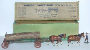 OS16 Britains rare pre WW2 boxed 12F Timber Carriage c/w feather-hoofed horse