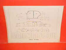 1960 SIMCA ARONDE VOLKSWAGEN  VW KARMANN GHIA BEETLE SEDAN FRAME DIMENSION CHART
