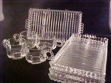 4 Hazel Atlas Ball & Ribbed Snack Sets 4 Cups 4 Plates Snack Sip & Smoke