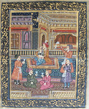 Mughal India Court Scene Hand Painted on Silk Quality Work