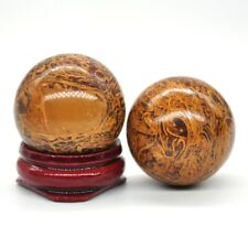 30MM Natural Fossil Elephant Skin Jasper Crystal Healing Reiki Stone Shpere Ball