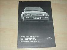 46514) Ford Sierra - technische Daten - Maße - Gewichte - Prospekt 1983
